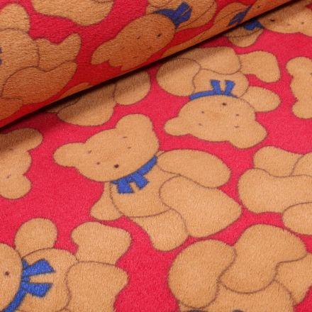 Tissu Doudou Teddy sur fond Rouge - Par 10 cm