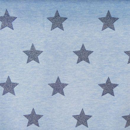 Tissu Sweat bleu dragée Etoiles marine à paillettes x10cm