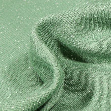 Tissu Sweat uni Pailleté sur fond Vert