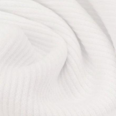Tissu Bord côte uni Blanc - Par 10 cm