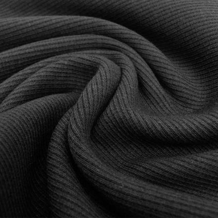 Tissu Bord côte Noir x10cm