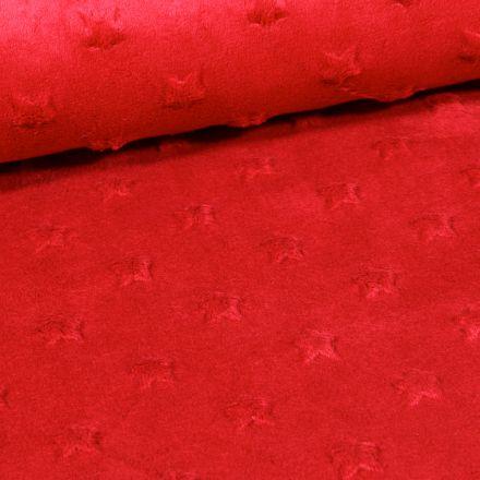 Tissu Minky Ultra doux Etoiles Rouge foncé