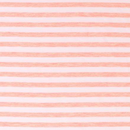 Tissu Jersey Rayé Saumon Chiné sur fond Blanc - Par 10 cm
