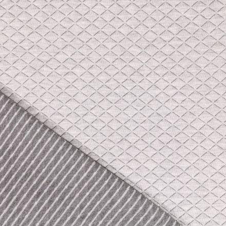 Tissu Sweat matelassé Lurex Losanges Argenté sur fond Gris - Par 10 cm