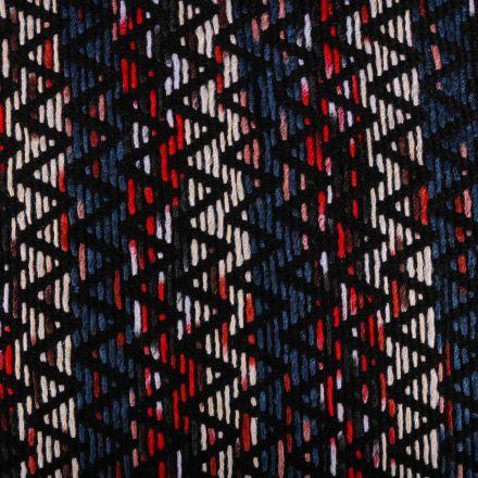 Tissu Lainage Chevrons Noirs sur fond Bleu et rouge - Par 10 cm
