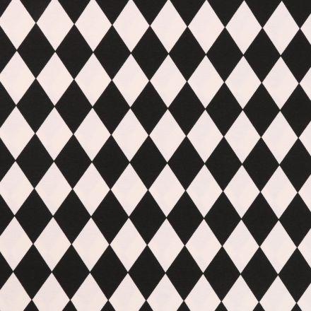 Tissu Toile Coton Losanges Noirs et blancs - Par 10 cm