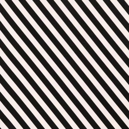 Tissu Toile Coton Rayures diagonales Noires et blanches - Par 10 cm