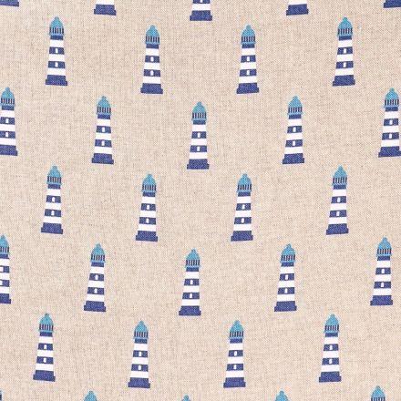 Tissu Toile Coton Phares bleus et blancs sur fond Beige - Par 10 cm