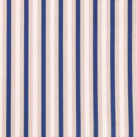 Tissu Toile Coton Rayures Blanches et bleu marine sur fond Beige - Par 10 cm