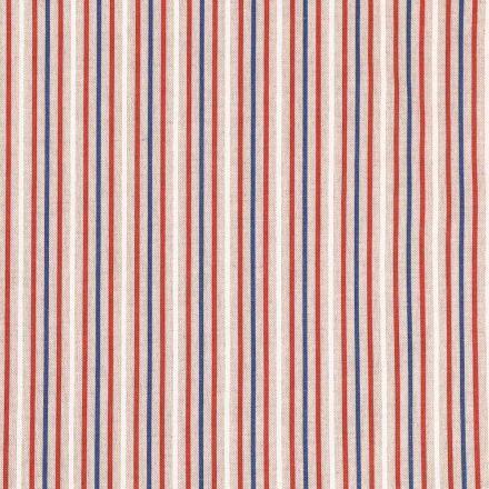Tissu Toile Coton Rayures bleues, blanches et rouges sur fond Beige - Par 10 cm