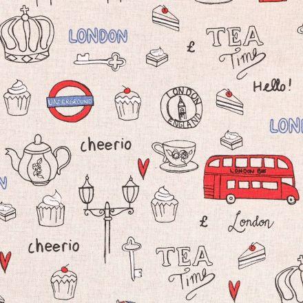 Tissu Toile Coton I love London sur fond Beige - Par 10 cm