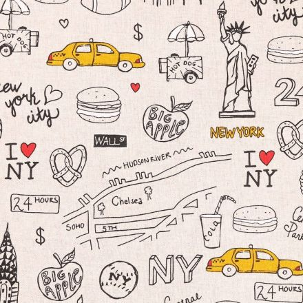 Tissu Toile Coton I love New York sur fond Beige - Par 10 cm
