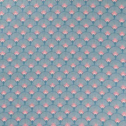 Tissu Toile Coton Motifs Japonais Roses et blancs sur fond Bleu - Par 10 cm