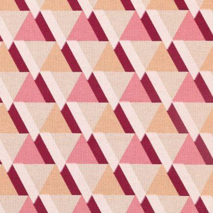 Tissu Toile de Coton Triangles roses, prune et oranges sur fond Beige - Par 10 cm