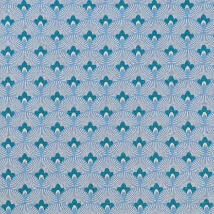 Tissu Toile de Coton Eventails Ecrus sur fond Bleu - Par 10 cm