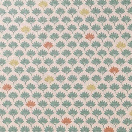 Tissu Toile Coton Feuilles de palmiers Vertes et marrons sur fond Beige - Par 10 cm