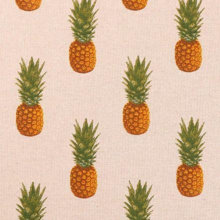 Tissu Toile de Coton Ananas oranges sur fond Beige - Par 10 cm
