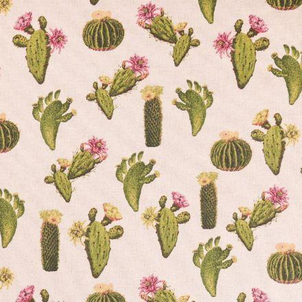 Tissu Toile Coton Cactus Verts, roses et Jaunes sur fond Beige - Par 10 cm