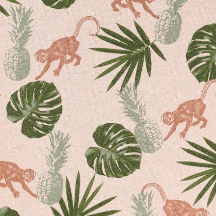 Tissu Toile de Coton Singes et Feuilles de Palmiers sur fond Beige - Par 10 cm