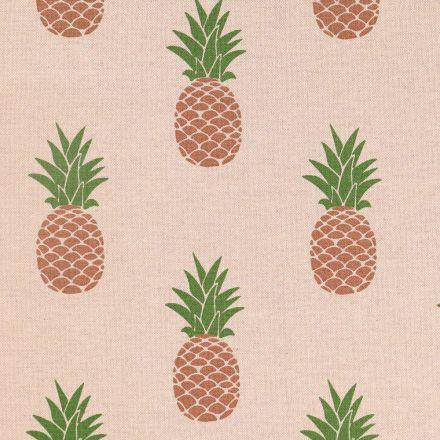 Tissu Toile de Coton Ananas Marrons et verts sur fond Beige - Par 10 cm