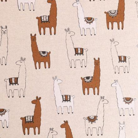 Tissu Toile Coton Lamas Blancs et marrons sur fond Beige - Par 10 cm