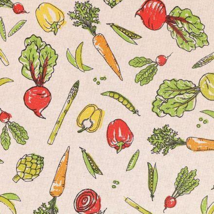 Tissu Toile Coton Légumes Multicolores sur fond Beige - Par 10 cm