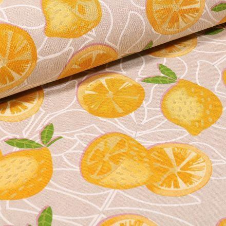 Tissu Toile Coton Citrons sur fond Naturel - Par 10 cm