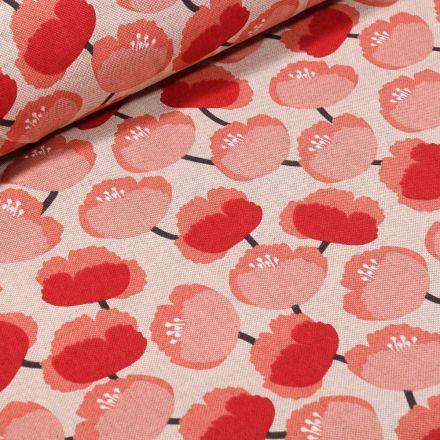 Tissu Toile Coton Coquelicot sur fond Naturel - Par 10 cm