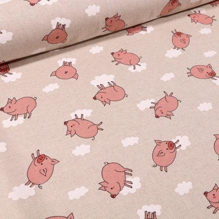 Tissu Toile Coton Cochons et nuages sur fond Naturel - Par 10 cm