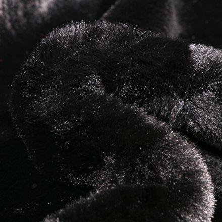 Tissu Fausse fourrure Luxe Ultra douce épaisse Noir