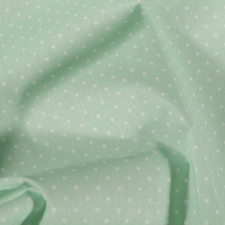Tissu Coton enduit Petits pois blancs sur fond Vert menthe clair - Par 10 cm