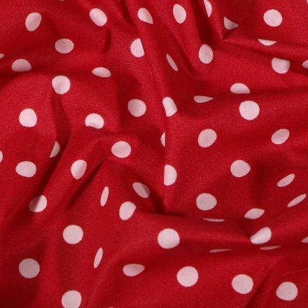 Tissu Coton enduit Pois blancs sur fond Rouge - Par 10 cm