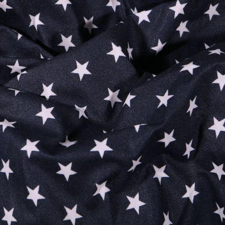 Tissu Coton enduit Etoiles blanches sur fond Bleu marine - Par 10 cm