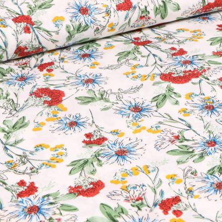 Tissu Viscose Fleurs de printemps sur fond Blanc
