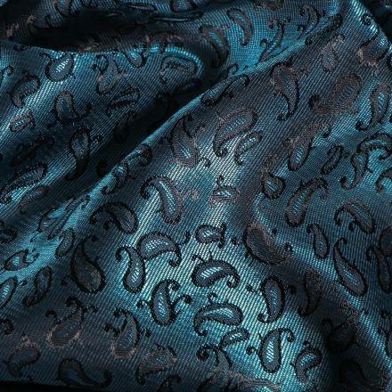 Tissu Satiné Motifs Cachemire changeant sur fond Bleu - Par 10 cm