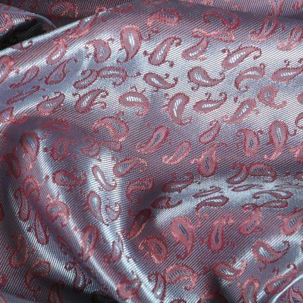 Tissu Satiné Motifs Cachemire changeant sur fond Violet - Par 10 cm