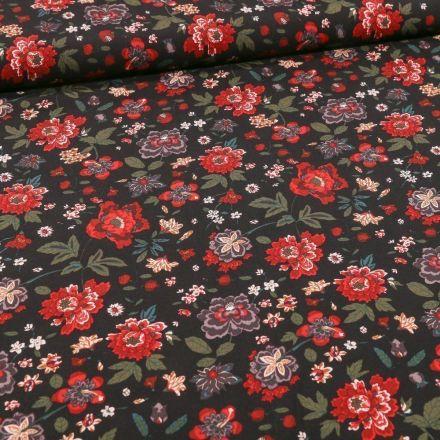 Tissu Viscose Fleuris Louise sur fond Noir - Par 10 cm