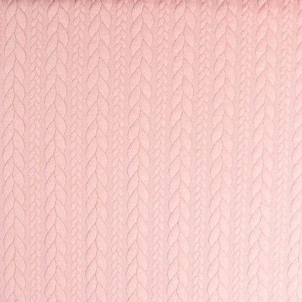 Tissu Sweat  effet Maille tressée Rose pastel - Par 10 cm