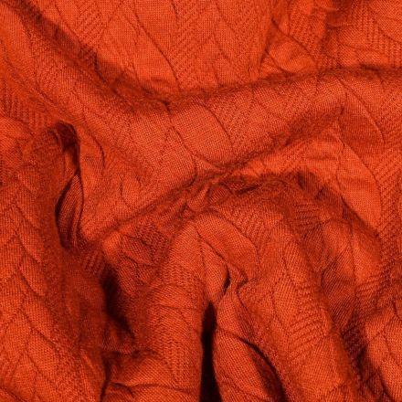 Tissu Sweat  Tresse large sur fond Rouille - Par 10 cm