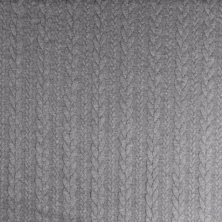 Tissu Sweat  effet Maille tressée Gris pierre - Par 10 cm