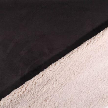 Tissu Suédine épaisse envers Mouton Noir - Par 10 cm
