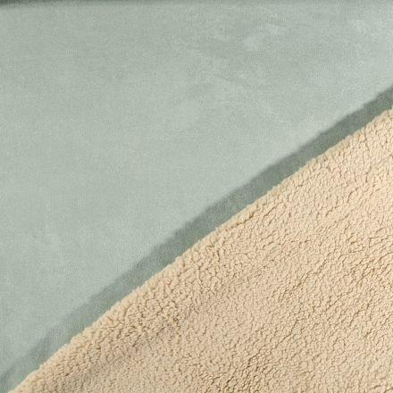Tissu Suédine épaisse envers Mouton Vert amande - Par 10 cm