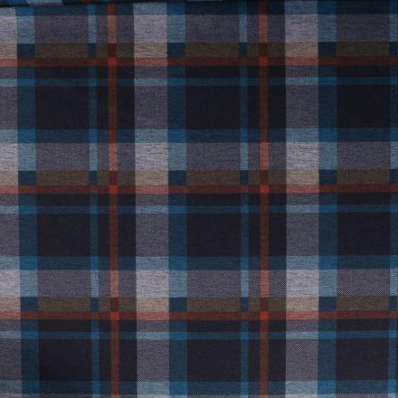 Tissu Jersey Milano Carreaux bleu et brique sur fond Noir - Par 10 cm