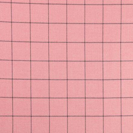 Tissu Gabardine de Viscose Carreaux Gris sur fond Vieux rose - Par 10 cm