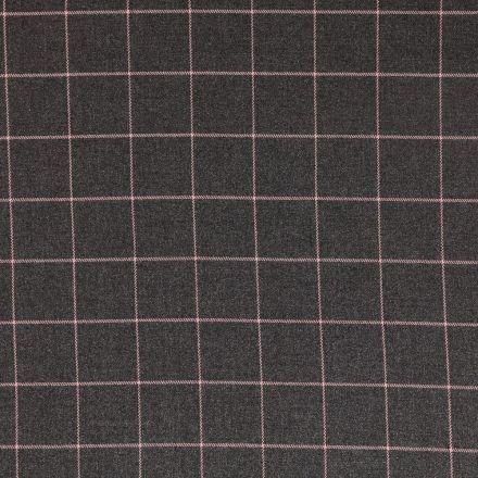 Tissu Gabardine de Viscose Carreaux Roses sur fond Gris - Par 10 cm