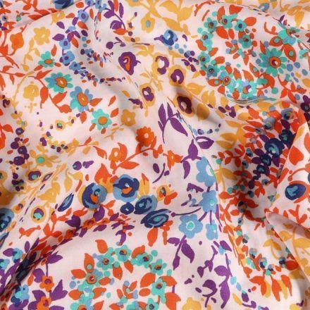 Tissu Viscose  Lianes de fleurs sur fond Blanc - Par 10 cm