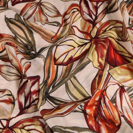 Tissu Viscose  Grandes feuilles rouge orangé sur fond Blanc - Par 10 cm