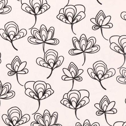 Tissu Toile de Coton légère Fleurs Noires sur fond Ecru - Par 10 cm