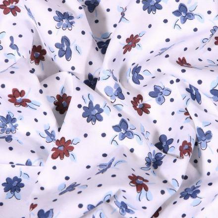 Tissu Coton extensible  Fleurs et petits pois bleus et bordeaux sur fond Blanc - Par 10 cm
