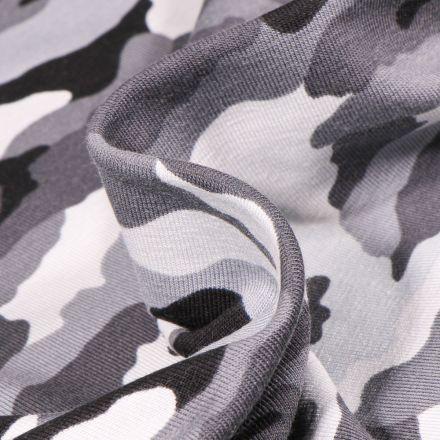 Tissu Jersey coton US Camouflages sur fond Gris clair